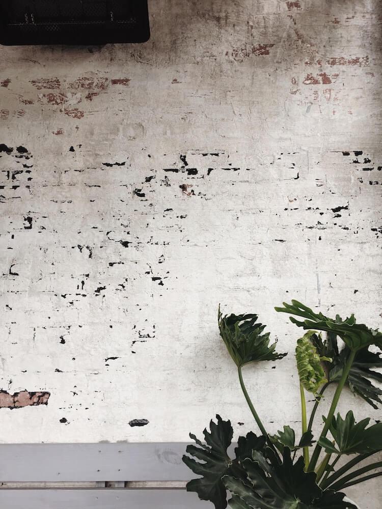 White German smear on an interior brick wall.